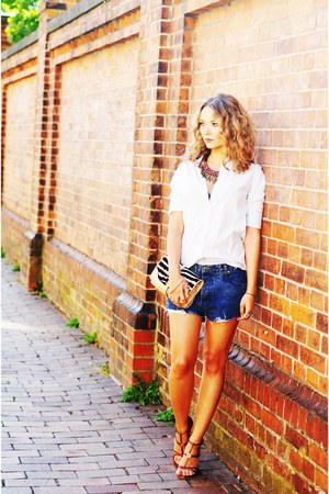 navy denim Cheap Monday shorts - light blue Zara shirt - ruby red Gucci purse
