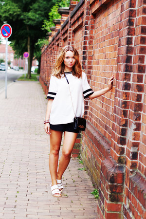 white H&M shirt - black Diane Von Furstenberg purse - black Primark shorts