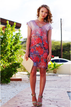 silk boss orange dress - studded Zara purse - lanvin heels