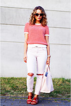salmon knit Closed shirt - light pink J Brand jeans - light pink Furla bag