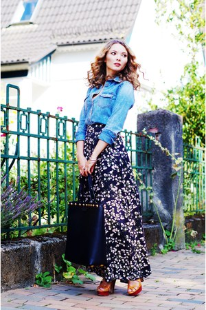floral Urban Outfitters skirt - blue denim H&M shirt - black leather Gucci bag