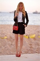 black random brand sweater - white random brand shirt - red Chanel bag