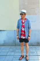 ruby red asos shirt - sky blue Muji blazer - navy H&M shorts