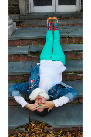 denim jacket Gap jacket - Old Navy jeans - cosmic vintage wedges