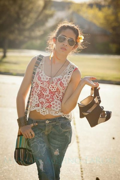 doilie like shirt - jeans - sunglasses - earrings - heels