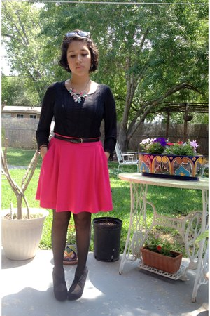 black JCPenney tights - hot pink Joe Fresh skirt - black unknown brand heels