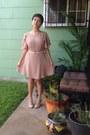 Tan-dress-tan-jcpenney-pumps-white-forever-21-belt-white-vintage-earrings