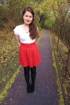 red H&M skirt - navy camaieu coat - black F&F heels - white Costa Blanca top