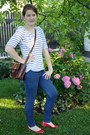 White-c-a-shirt-navy-f-f-jeans-brown-satchel-gate-bag