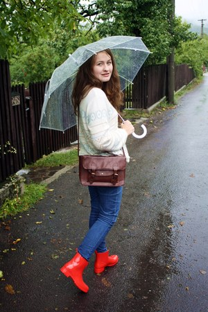 red rain Crivit boots - navy Bershka jeans - camel wool H&M sweater
