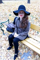 black big floppy wool H&M hat - dark brown H&M bag - black F&F heels