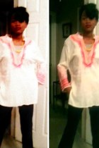 navy cotton Old Navy pants - pink idk shirt - yellow necklace