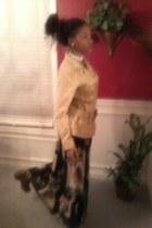 ivory earrings - brown boots - black dress - beige blazer - off white necklace