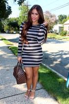 bag Louis Vuitton bag - stripes Forever 21 dress - easy pickins heels