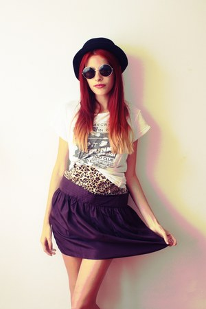 silk Gap skirt - Tally Weijl hat - Secondhand t-shirt - H&amp;M glasses