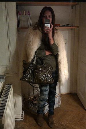 ivory mongolian fur vintage coat - dark khaki cowboy booties Zara boots