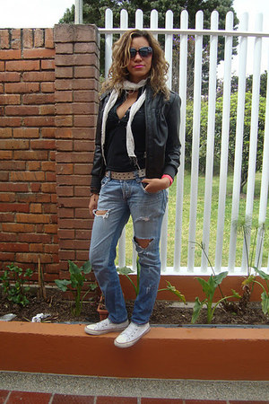blue Diesel jeans - black Fallabela jacket - white Converse sneakers
