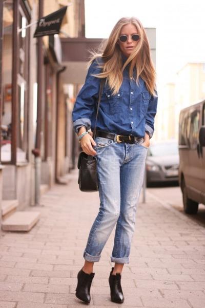 Blue Jeans Black Ankle Boots Blue Denim Vintage Shirts