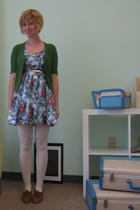 blue ModClothcom dress - green Tulle cardigan - white ModClothcom tights - brown