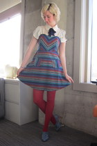 modcloth dress - modcloth tights - modcloth top - thrifted heels