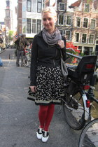 modcloth dress - modcloth jacket - modcloth tights - modcloth scarf - Keds sneak