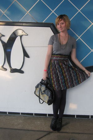 gray aa top - purple Rojas skirt - black vintage purse - black Jeffrey Campbell