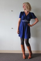 tawny Vintage thrifted boots - deep purple ModClothcom dress - gray ModClothcom