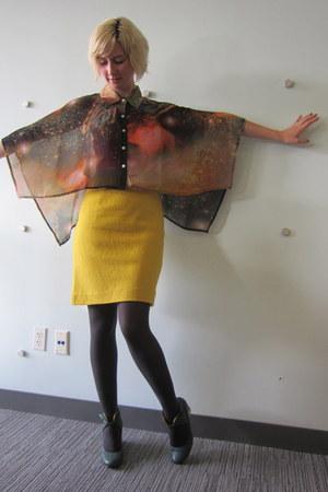 Public Beware top - modcloth tights - BB Dakota skirt - Industry wedges