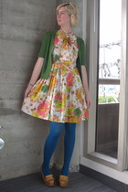 vintage dress - modcloth tights - Tulle cardigan - Jeffrey Campbell wedges