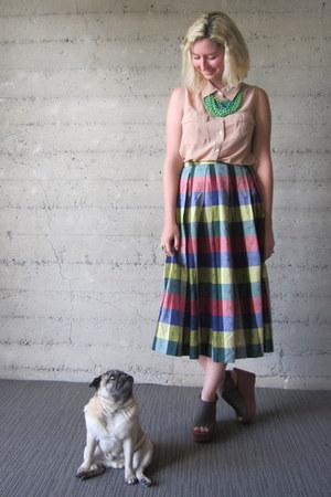 vintage skirt - modcloth top - modcloth necklace - modcloth wedges