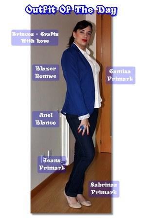 romwe blazer - Primark jeans - BLANCO ring - Primark flats - Primark blouse