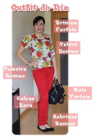 Parfois bag - Zara jeans - romwe blouse - Xancas flats - romwe bracelet