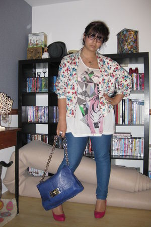 pink new look shoes - white Upper 5th jacket - blue asos jeans - blue asos bag -