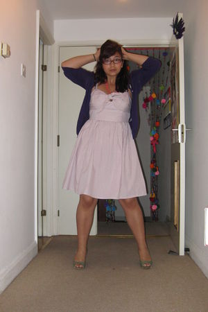 pink H&M dress - green paco gil shoes - orange Primark necklace - purple Topshop