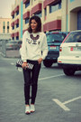 White-fuck-sweater-sheinside-sweater-black-stripes-banana-republic-bag