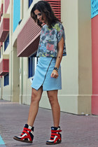 sky blue faux leather Zara skirt - periwinkle Atmosphere top