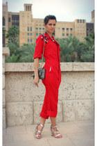 red Susanna Vesna bodysuit - charcoal gray Carolina Herrera bag