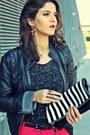 Black-faux-leather-zara-jacket-black-romwe-sweater-black-dkny-watch