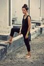 Black-jumpsuit-jnby-bodysuit-gold-cuff-h-m-bracelet