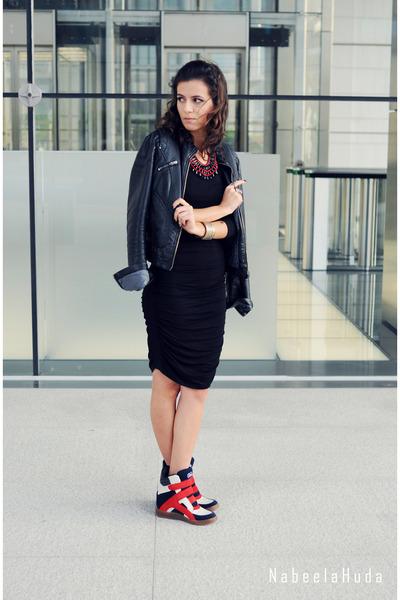black basic H&M dress - black leather jacket Zara jacket