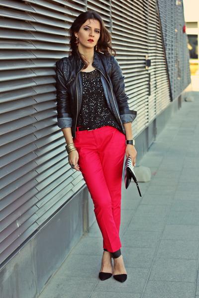 black faux leather Zara jacket - black romwe sweater