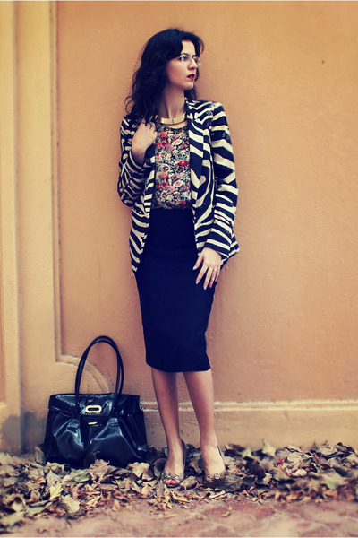 Zara blazer - specs DKNY sunglasses - Vinatge top - black next skirt