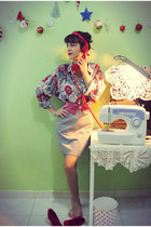 vintage blouse - vintage skirt - May Adel Handmade accessories