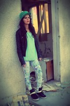 black Zara jacket - periwinkle romwe leggings - aquamarine Dorothy Perkins top