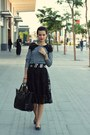 Black-leather-black-zara-bag-heather-gray-lace-zara-top