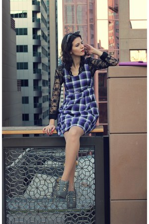 deep purple purple tartan From Poland dress - heather gray Steve Madden boots