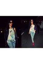 Zara jeans - Jeffrey Campbell boots - Zara jacket - vintage bag - Zara t-shirt
