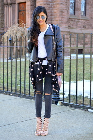 black diy ripped Forever 21 jeans