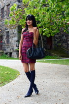 tartan Forever 21 dress - black H&M bag - navy knee high Target socks