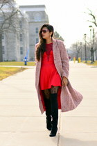 red tweed J Crew coat